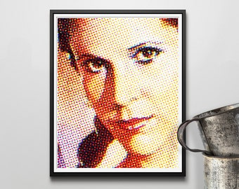 "Princess Leia Halftone - 8"" x 10"" Digital Print - Star Wars - Carrie Fisher - Return of the Jedi - Organa"
