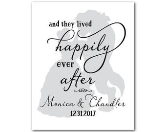and they lived happily ever after - anniversary gift - wedding gift - word art - customizable PRINT - Princess silhouette - wall decor