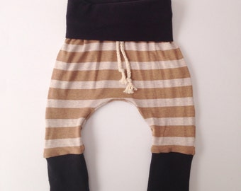 Drawstring harem pants with fold over waistband, boy harem pants, girl harem pants, leggings