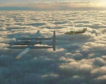 Vintage 1980s Postcard Rutan Voyager Historic Aircraft Aviation Airplane Intercontinental Jet Plane Card Photochrome Era Postally Unused
