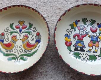 Enamel trinket dishes, folk art ,Greek enamel dishes, 1970s, trinket bowl, pin dish