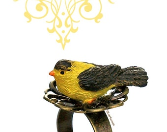 Yellow Bird Ring, Adjustable, Whimsical Novelty Ring, A Bird in the Hand