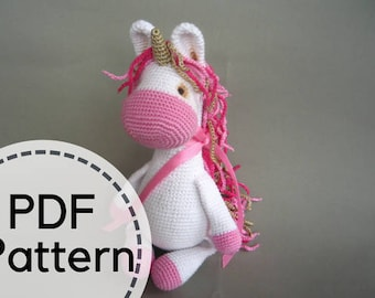 Crochet unicorn plush pattern, Cute Unicorn , PDF pattern, ENGLISH language