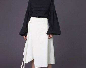 Wrap skirt / Skirt / Wedding skirt / Bridal skirt / Bridal separates / Midi skirt / Maxi skirt / Long skirt / White skirt / Asymmetrical
