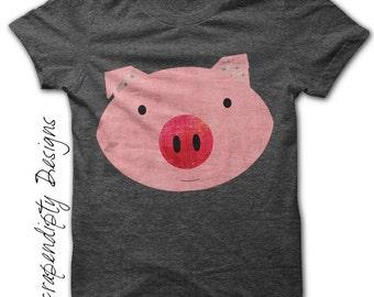 Pink Pig Iron on Transfer - Farm Animals Iron on Tshirt / Girls Pig Shirt / DIY Hippie Baby Clothes / Kids Boys Clothing Top Digital IT25