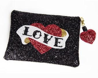 Rockabilly Handbag Glitter Heart Tattoo Scroll Vintage Style with Lining