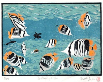 Butterfly Fish, Limited Edition Linoleum Block Print
