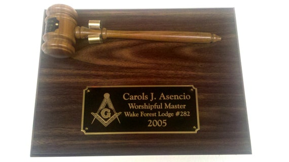 Masonic Walnut Finish Personalized 9 x 12 Gavel and Plaque