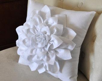 Dahlia Felt Flower on White Pillow -Mum Flower- 16 x 16