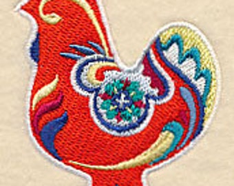Classic Dala Chicken Embroidered Kitchen Towel
