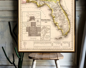 Florida  map restored - Vintage map of Florida archival reproduction