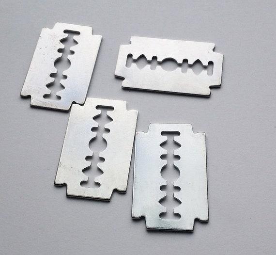 2 steel metal razor blade charms pendants 20mm x 30mm silvertone findings lot