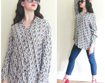 Vintage Printed Blouse Flax Jeanne Engelhart / Button Down Rayon Oversized Shirt / Plus Size Medium