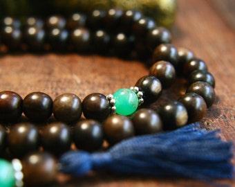 Wooden Gemstone Mala Chrysoprase Prayer Beads 108 Mala Beads Japa Mala Meditation Jewelry Silk Tassel Necklace Unknotted Mala Green Crystal