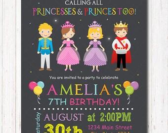 Princess Invitation, Prince Birthday Invitation, Princess Invite, Royal party, chalkboard, Royal Invitation, Prince Invitation, printable
