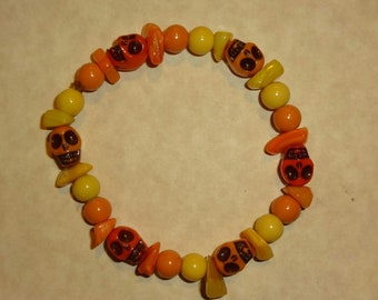 Skulls Bracelet Orange and Yellow