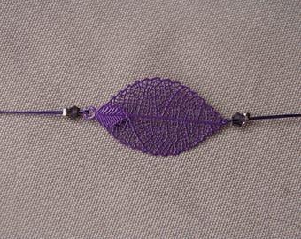 Purple bracelet with leaf