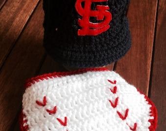 St Louis Cardinals baby, baseball cap diaper cover, Newborn Cardinals Hat, Baseball Diaper Cover, Baby Baseball Cap, St Louis Cardinals