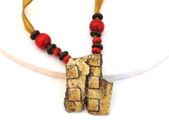 Brown Ceramic Necklaces for Women, Gold Silk Fairy Necklace, Red/ Brown Wooden Beads, Handmade, Rustic Casual Necklace, Mother's Day Gift