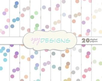 20 Pastel Confetti/Polka Dots/Spots Digital Printable Scrapbooking Paper Background