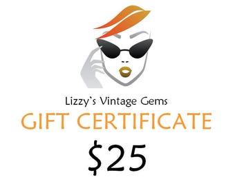 Digital Lizzy's Vintage Gems Gift Certificate 25.00 / Shop Gift Certificate / Buy Gift Certificate / Prepaid Gift Certificate