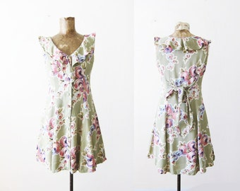 90s Betsey Johnson Dress - 90s Floral Mini Dress - Vintage 90s Rayon Dress - Button Front Dress - Green Dress - Soft Grunge Dress XS Petite