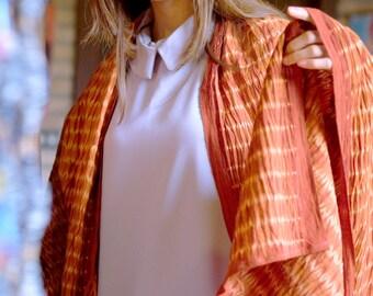 RB009 [Rillet] - Natural Saffron Red Dyed Shibori Fabrics