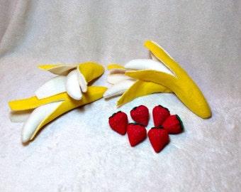 10 pc Felt Strawberry & Banana Set, Felt Food, Felt Fruit, Play Food, Pretend Play
