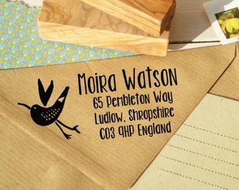 Return Address Stamp with Little Bird Design on Olive Wood