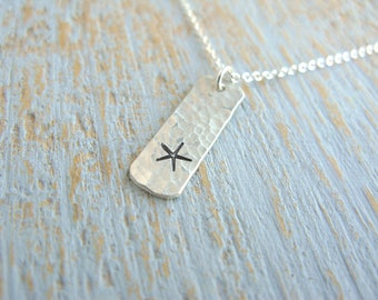 Silver Starfish Necklace, Starfish Necklace, Silver Starfish Bar Necklace, Silver Bar Necklace, Beach Necklace