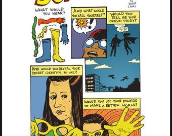 Superhero poem giclee print