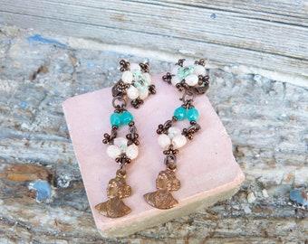 l L'Arlesienne long dangle beaded Earrings with copper women portrait finding