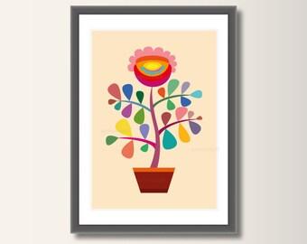Flower, Art Print, Scandinavian Art Print, Art Print Poster Wall Art, Nursery Decor, Minimalist Print, Minimal Print