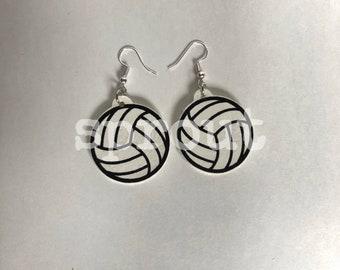 Faux Leather Volleyball Earrings | Vegan Earrings