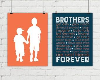 kids wall art - brothers bedroom decor - big brother little brother - boys playroom art - orange and navy boys room - boys bathroom decor