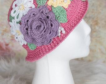 Girls Sun Hat, Girls Panama Hat, Easter hat, Little Girls Panama Hat, Toddler Panama Hat, Girls Cloche, Girls Crochet Hat, Toddler Cloche