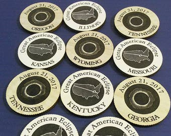 SOUVENIR total SOLAR ECLIPSE  Wooden Coin Tokens,  August 21, 2017 Great American Eclipse, Awesome souvenirs for this Great day!