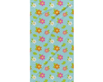 Garden Bug Beach Towel - Style 10 - Orange, Pink and White Flowers