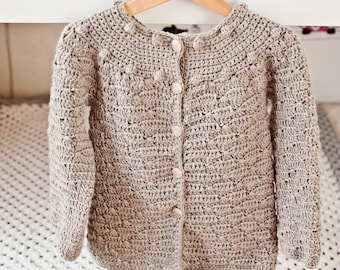 Crochet Cardigan PATTERN - Wavy Cardigan (sizes 6/12months,2/3,4/5,7/8 years)