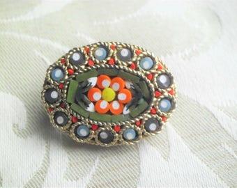 VintageTeal & Orange Micro Mosaic Flower Brooch Pin