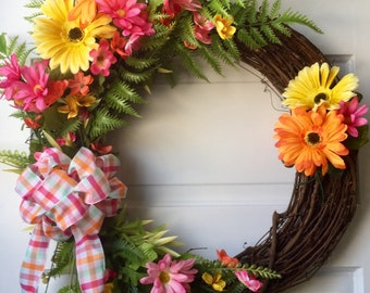 Grapevine floral Spring wreath, Grapevine floral Summer wreath, Front door wreath, Mother's Day