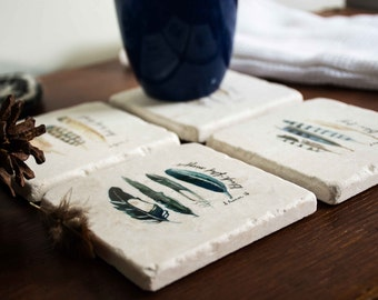 Marble coaster set of 4 / Watercolour designs / Feathers