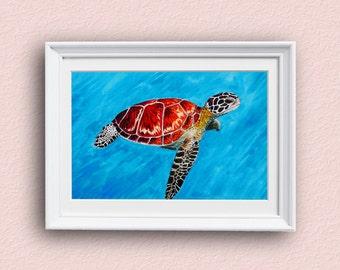 Sea Turtle Art - Colorful - Turtle Art - Giclee Art Print