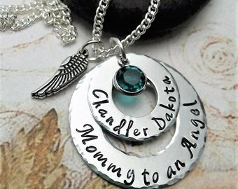Personalized Memorial Necklace,Remembrance Necklace,Sympathy Jewelry,Mommy Necklace,In Memory of Necklace,Handmade Jewelry,Memorial Jewelry