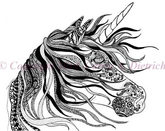 Unicorn Art, Unicorn Drawing, 5 x 7 Art Print, Art Print, Doodle Unicorn, Black and White Art, Pen and Ink Art, Horse Art, Art