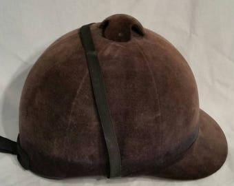 Vintage brown riding hat, equestrian 21 3/4