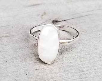 Moonstone Stacking Ring, Custom Sized, Bohemian Minimalist Classic Stacker
