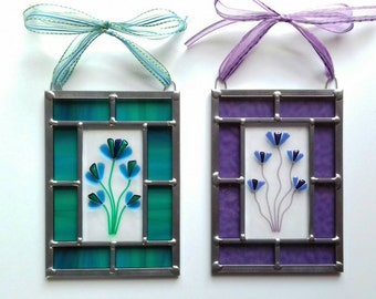 Handmade rectangular fused glass Flower panel with traditional leaded framing.