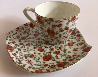 Floral tea cup and saucer