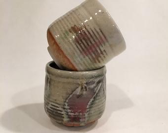 Tea Cup Pair, Handmade Ceramic TeaCup, Pottery Cup, Yunomi, TCMRCH18MCC8